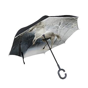 jstel doble capa invertida caballo paraguas coches Reverse resistente al viento lluvia paraguas para coche al