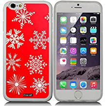 CocoZ® iPhone 6 s 4.7-inch Case red background with snowflakes Pattern TPU Material Case (Transparent TPU & snowflakes 13)