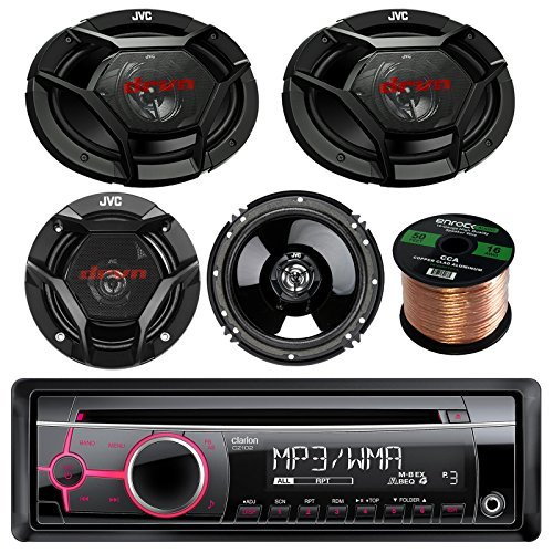 "Clarion CZ102 CD/MP3/WMA AUX Car Stereo Receiver Bundle Combo With 2x JVC CS-DR6930 6x9"" 3-Way Vehicle Coaxial Speakers + 2x CS-DR620 6.5"" Inch 2-Way Audio Speakers + 50 Feet 16-Gauge Speaker Wire"