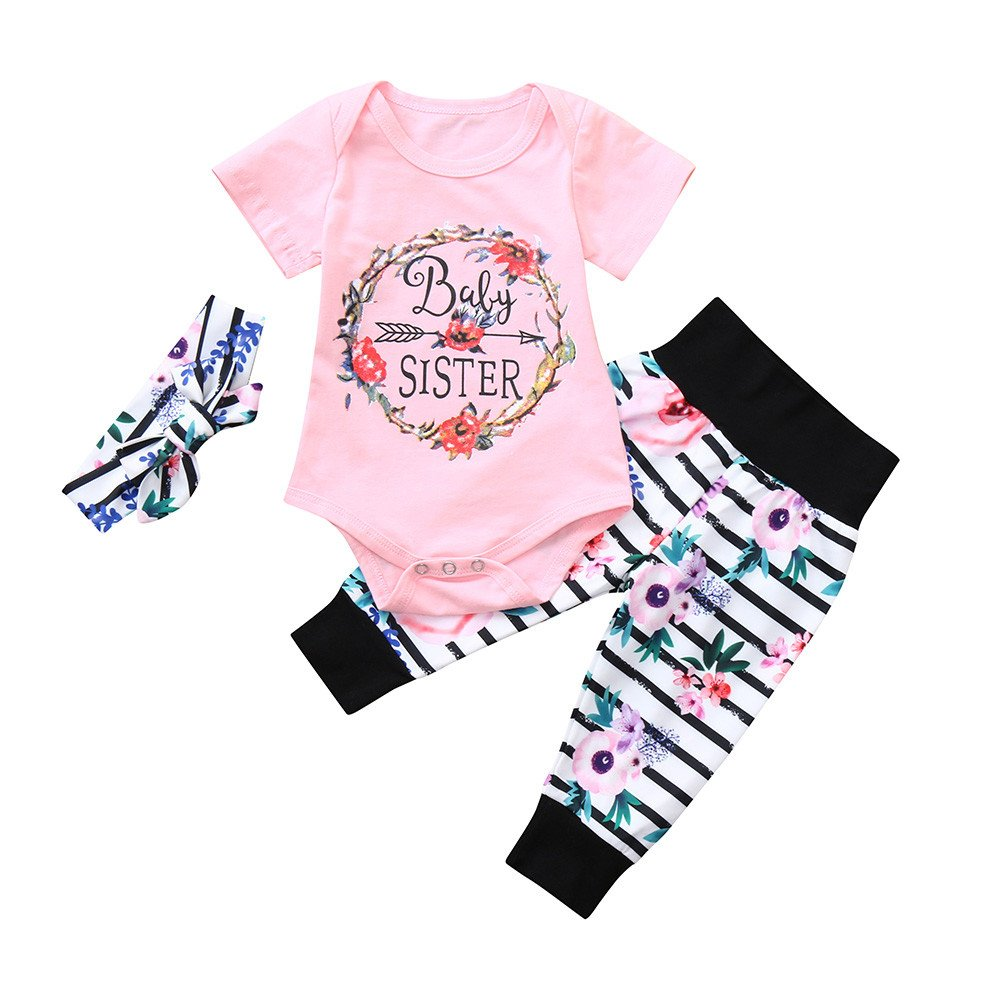 Oldeagle Infant Baby Girls Baby Sister Letter Print Romper Jumpsuit Floral Striped Pants Headband 3PCs Baby Outfits (3M, Pink)