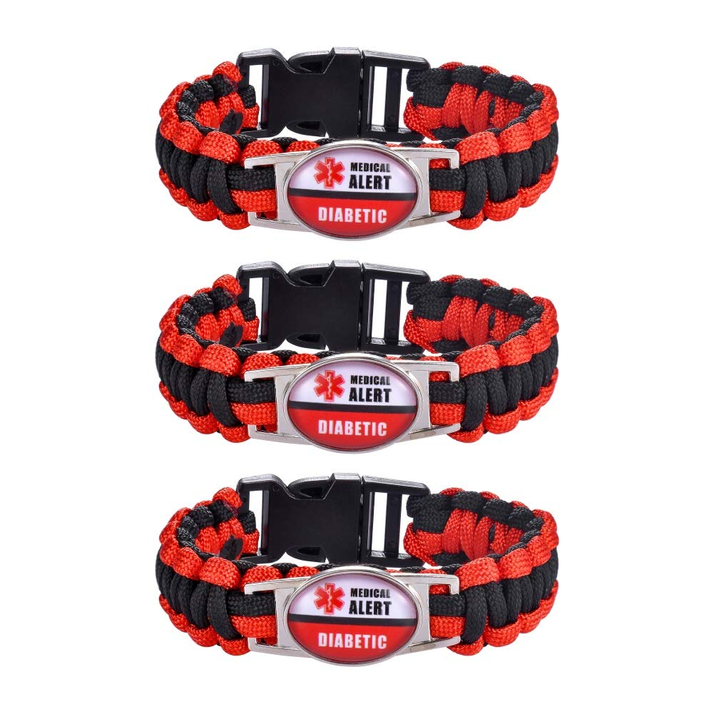 Supreme glory 3PC Unisex Braided Rope Survival Diabetic Medical Alert ID Cuff Bracelet Bangle for Men Women