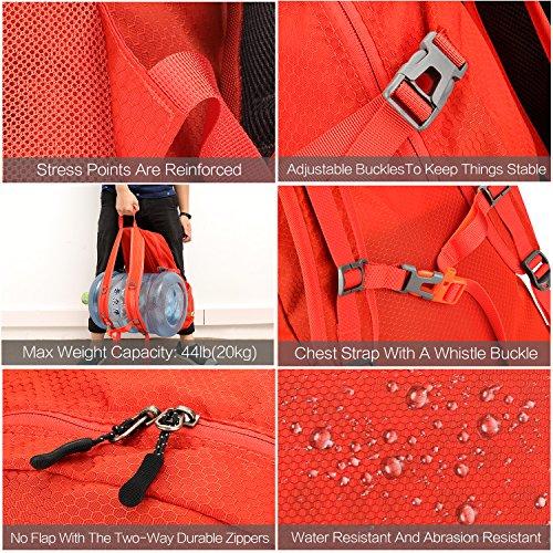NEEKFOX Lightweight Packable Travel Hiking Backpack Daypack,35L Foldable Camping Backpack,Ultralight Outdoor Sport Backpack (03.Orange) by NEEKFOX (Image #5)