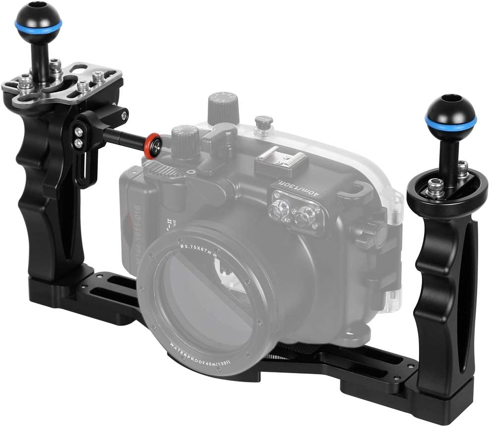 PULUZ Dual Handles Aluminium Alloy Tray Stabilizer for Underwater Camera Housings