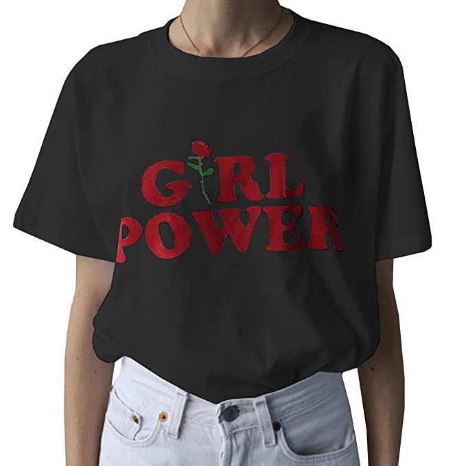 afcfd227e08 Shelers Girl Power T-Shirt Feminism Shirt 100% Cotton Short Sleeve Unisex Slogan  Women s T-Shirt Tops Blouse  Amazon.co.uk  Clothing