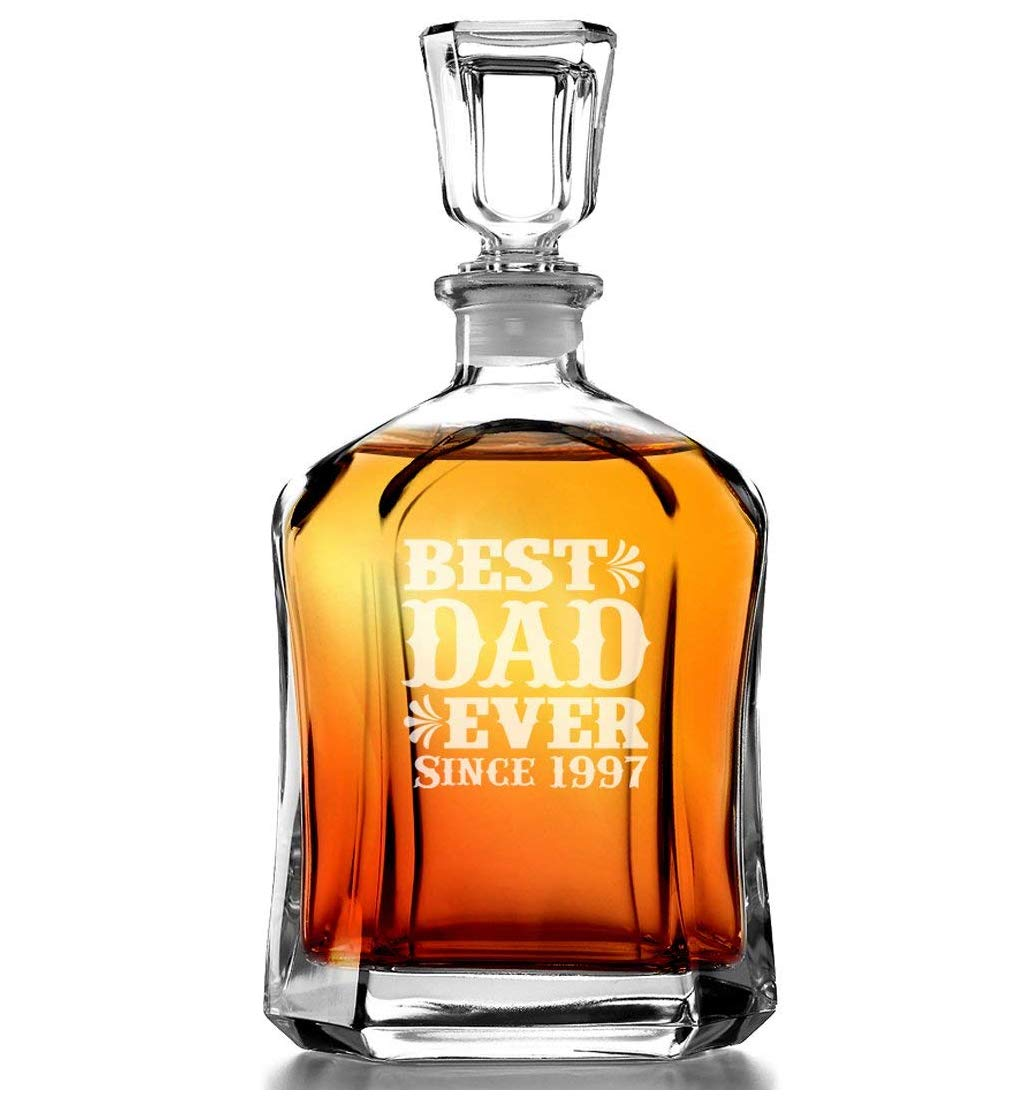 Best Dad Ever Personalized Since Year Engraved Decanter Fathers Day Gift for Father in Law Daddy Grandpa Papa New Dad to Be for Husband Birthday Gift for Men Man Him Christmas Idea from Son Daughter by Custom-Engraved-Glasses-by-StockingFactory (Image #1)
