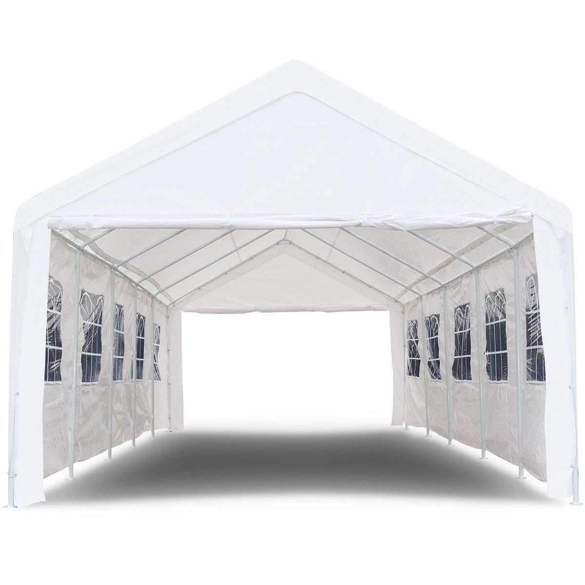 TANGKULA 10' x 20' Carport Canopy Tent Outdoor Garden Garage Party Wedding Tent Instant Shelter Versatile Shelter Sidewalls Waterproof Heavy Duty Car Canopy 8 Steel Legs, White AM1696HM