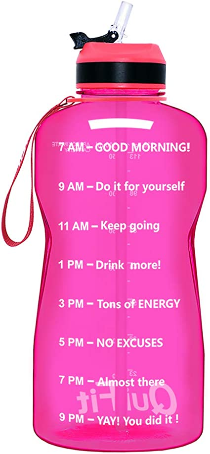 with Straw /& Time Marker BPA Free 128//64 oz Large Water Jug Leak-Proof Durable for Fitness Outdoor Enthusiasts QuiFit Motivational Gallon Water Bottle