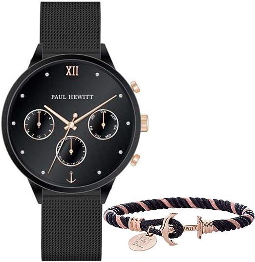 Set Orologio Bracciale Paul Hewitt Everpulse PH-PM-17-M MAGLIA MILANESE nero