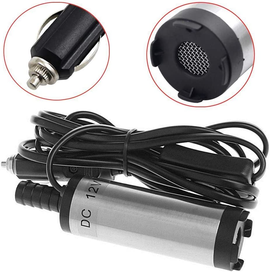HEHUANG Portable Mini 12V DC Electric Submersible Pump For Pumping Diesel Oil Water Stainless Steel Shell 12L//min,12V