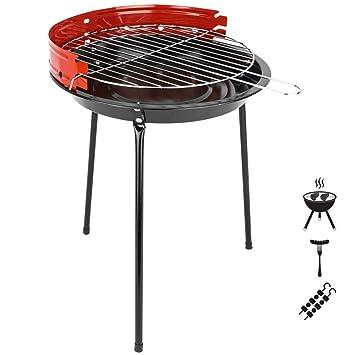PrimeMatik - Barbacoa de carbón de 33 cm con Patas BBQ Grill para jardín y Camping: Amazon.es: Electrónica
