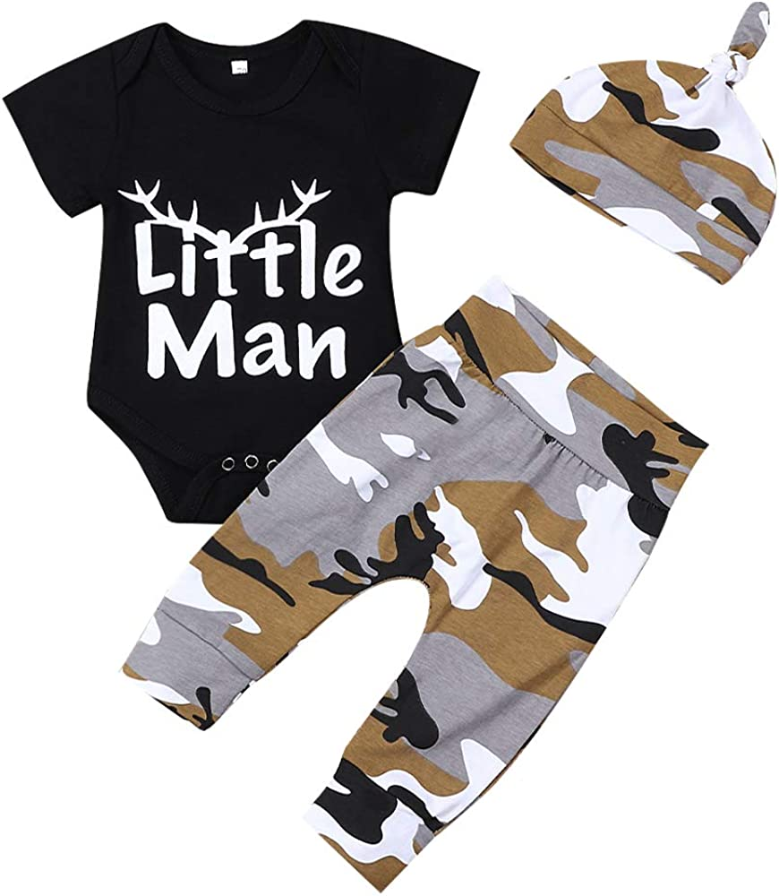 bilison Newborn Baby Boy Clothes Hipster Bowtie Strap Long Sleeve Bodysuit +Moustache Pants+Hat 3Pcs Outfits Set