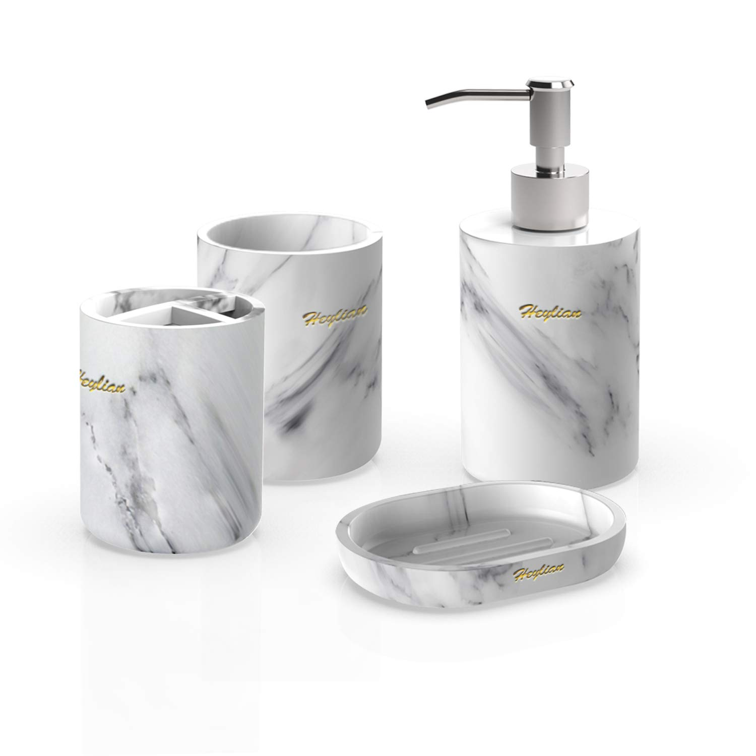Amazon Com Heylian Bathroom Accessories Set White Marble Tumbler