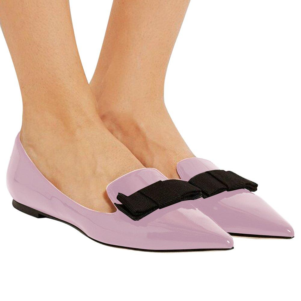 Eldof Women's Flats, Pointed Toe Flats Pumps, Patent Leather Flats Pumps, Walking Dress Office Classic Comfortable Flats B07DHLJ79L 6 B(M) US|Lavender