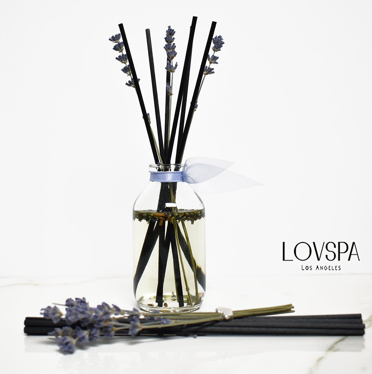 LOVSPA Gift Sale! Calming Lavender De Provence Natural Reed Diffuser Scented Sticks Set Aromatherapy for Stress Relief & Relaxation | Great Gift Idea for Mom | Made in The USA