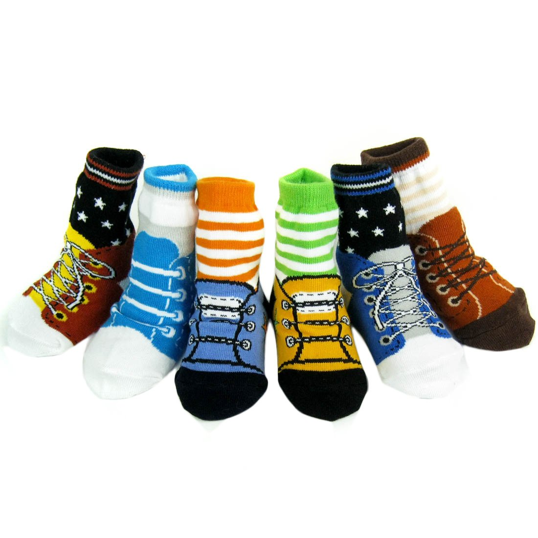 KF Baby Non-Skid Baby Boy Shoe Socks, 6 pairs, for 12-24 Months kilofly