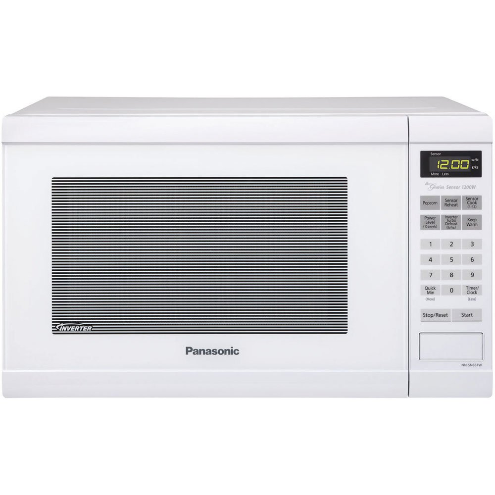 Panasonic NNSN651W NN-SN651W White 1200W 1.2 Cu. Ft. Countertop Microwave Oven with Inverter Technology