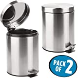 Mofna Stainless Steel Plain Pedal Dustbin Set of 2, Garbage Bin with Removable Bucket Round Shape 7''x10'' - 5 liters, Silver Color Slim and Fingerprint-Proof Finish use for, Home, Kitchen, Office,