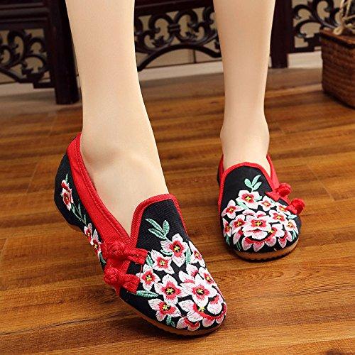 blossom NGRDX Mujer Zapatos Bordado Planos Oxford black Zapatos amp;G Peach Chino Zapatos Mujer gqgPRTw