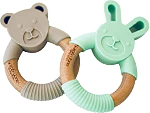 Baby Teething Rings - Set of 2 Teethers - Teething Ring Toy by Sarah-Jane Collection - Organic 100% BPA Free - Food Grade Silicone - Safe for Your Baby & Toddler- Wooden Silcon Bunny & Bear Teethers