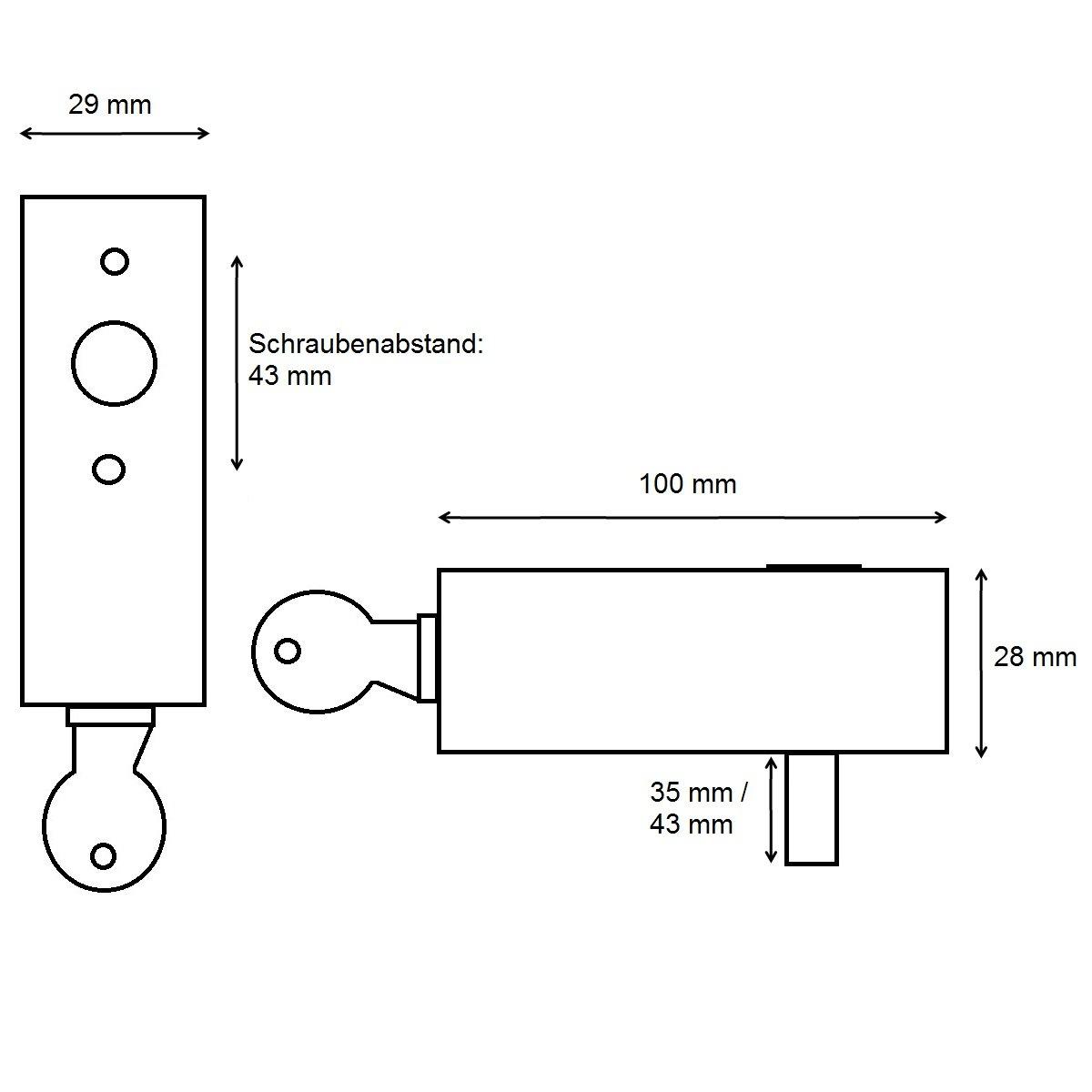 Bauhaus Edelstahl poliert Abschlie/ßbarer Fenstergriff 43 mm Stiftl/änge 35 mm