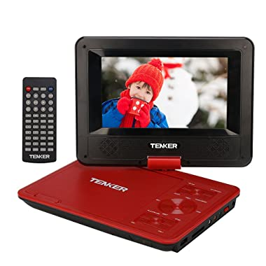 TENKER 7.5  Portable DVD Player with Swivel Screen, Rechargeable Battery and SD Card Slot & USB Port, Red