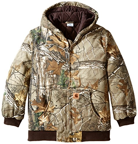 Lined Jacket Work - Carhartt Big Boys' Work Camo Active Jacket, Realtree Xtra, 14-16/Large