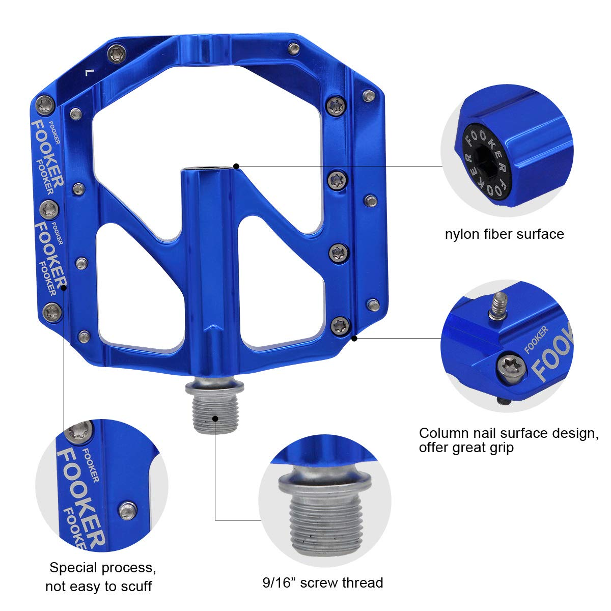 FOOKER Bike Pedals Non-Slip Aluminum Alloy MTB Mountain Bike Pedals 3 Bearing 9/16'' for Road BMX MTB Fixie Bikes by FOOKER (Image #6)