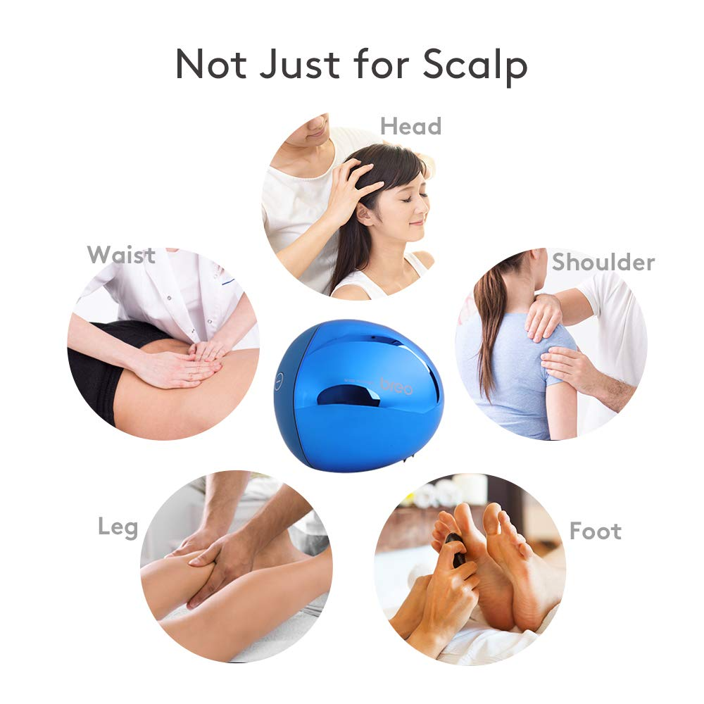 Breo Portable Mini Scalp Massager, IPX7 Waterproof Wireless Massager Octopus Head, for Scalp Stress Relief (Blue - Magnetic) by Breo (Image #7)