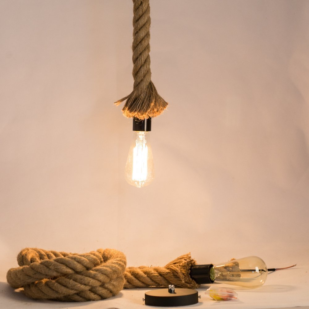Jorunhe Industrial Pendant Lamp Vintage Edison Nautical Manila Rope Ceiling Light by Jorunhe