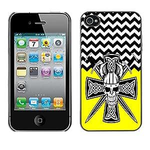 - Devil Cross Chevron Pattern - - Monedero pared Design Premium cuero del tirš®n magnšŠtico delgado del caso de la cubierta pata de ca FOR Apple iPhone 4 4S 4G Funny House