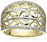 10k Yellow Gold Filigree Diamond Ring (1/10 cttw, I-J Color, I2-I3 Clarity), Size 7