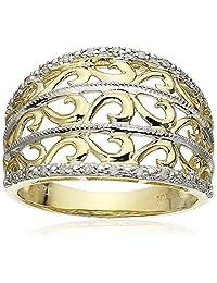 10k Yellow Gold Filigree Diamond Ring (1/10 cttw, I-J Color, I2-I3 Clarity)