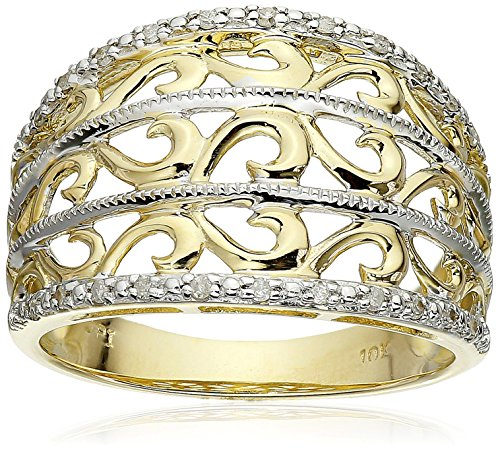 10k Yellow Gold Filigree Diamond Ring (1/10 Cttw, I-J Color, I2-I3 Clarity)