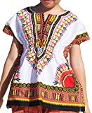 Raan Pah Muang RaanPahMuang Childs African Dashiki Festival Bright Cotton Open Collar Shirt, Small, White With Orange Yellow