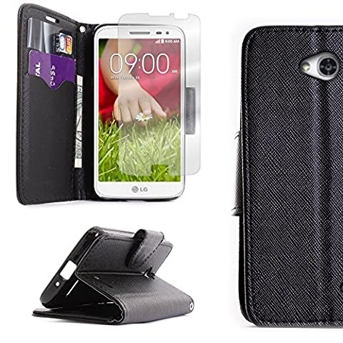 LG Optimus L70 Case, CoverON for LG Optimus L70 Exceed 2 Realm Pulse Ultimate 2 L41C Black Wallet Card Holder PU Leather Pouch Flip Leaf Style Case Cover+ Screen (Lg L41c Phone Case Wallet)