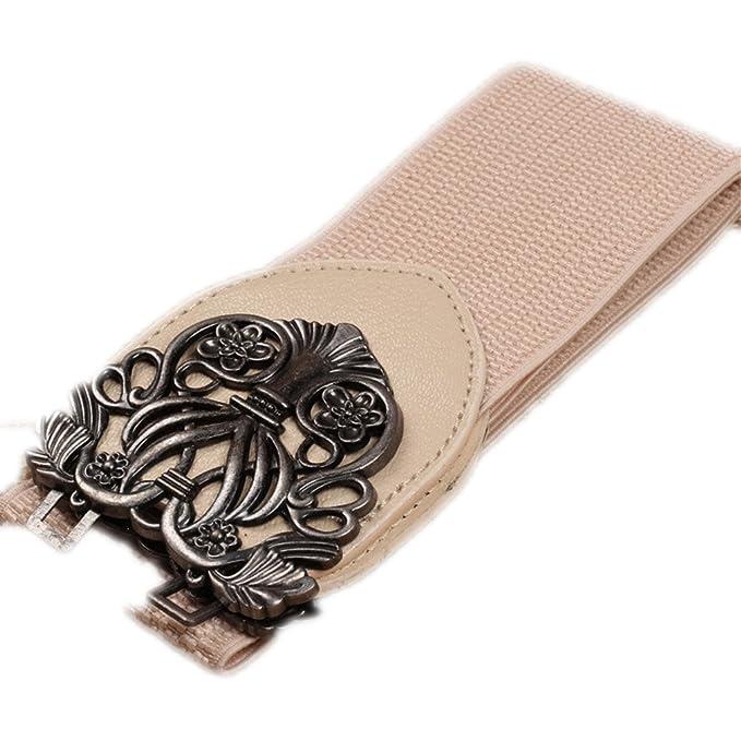 Amazon.com: Vintage Designer Flower PU Leather Belts Beige ...