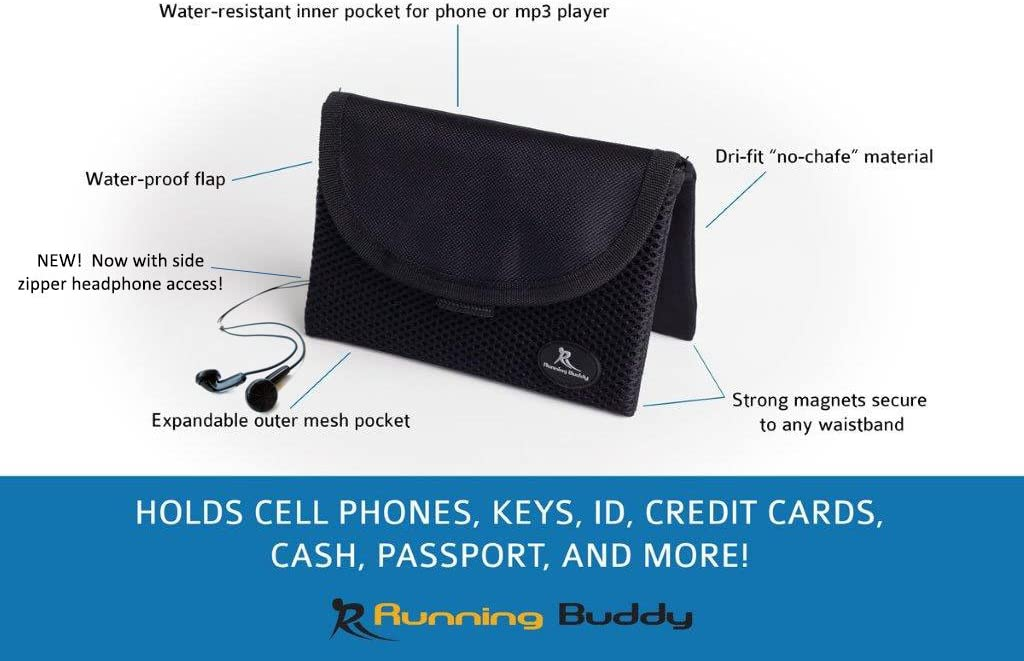 """Running Buddy XL /""""Buddy Pouch 6+/"""" Attachable Water-Resistant Magnetic Pouch"""