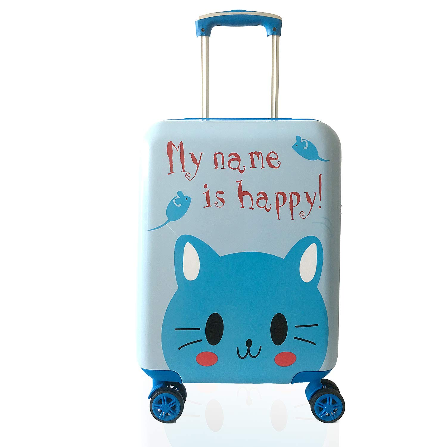 Lttxin kids' suitcase 16 inch Polycarbonate Carry On Luggage, Lovely, One Size,Children travel,cat,blue