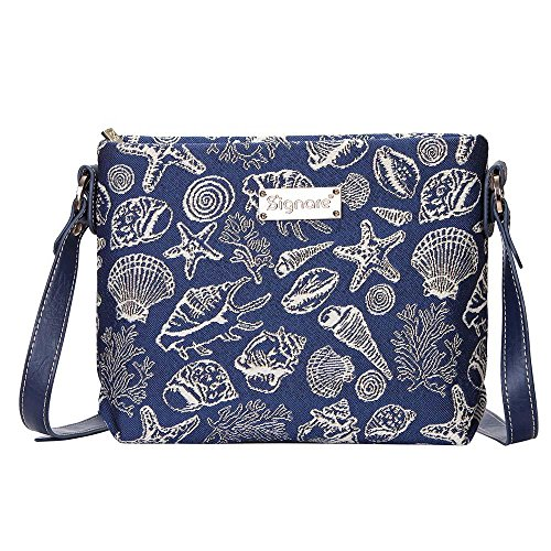 Cross Seashell Women Navy SHELL body XB02 Mini with Bag Signare Starfish Satchel Blue Tapestry and aZcwT