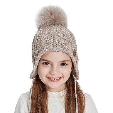 SOMALER Toddler Boys Girls Winter Knit Hat with Earflap Kids Baby Fleece Lined Beanie Hat Pom Pom Ski Cap