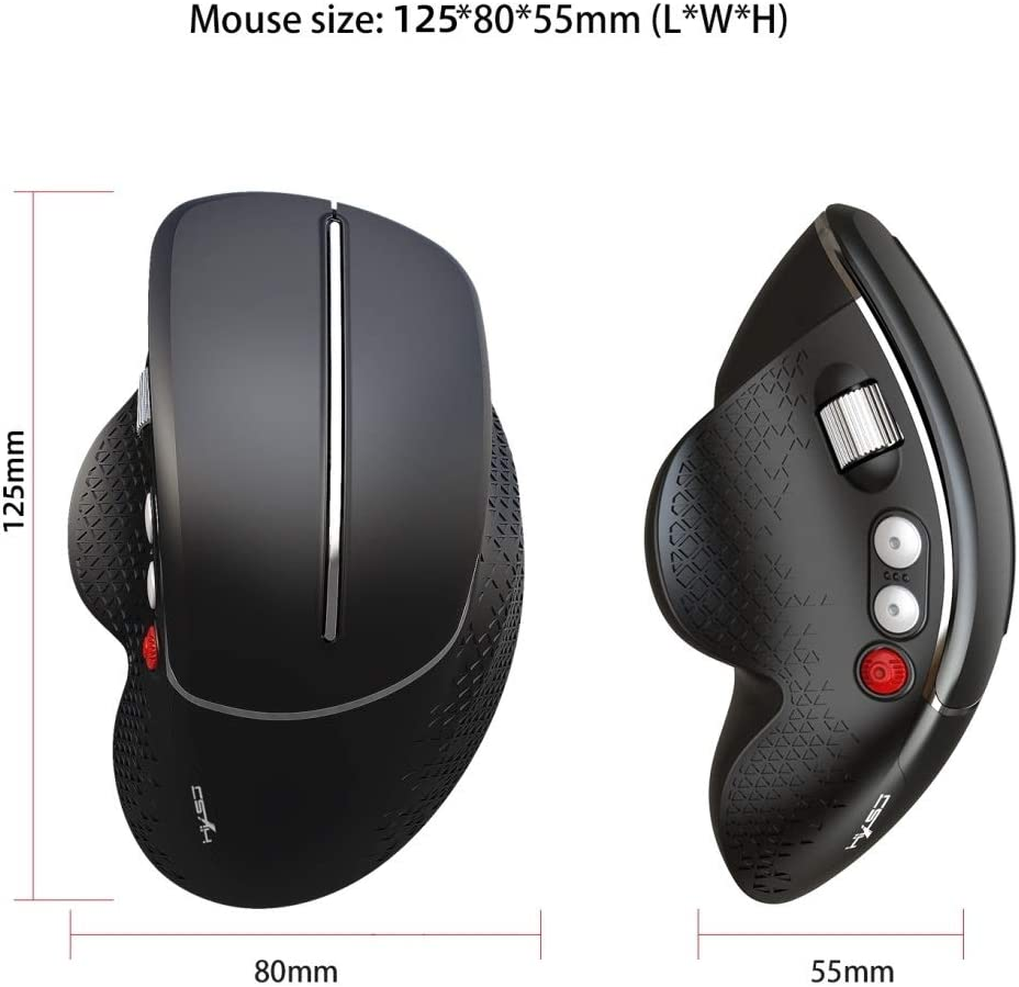 Color : Silver HGWEI T32 Ergonomic Design 2.4G Wireless Vertical Mouse Gaming