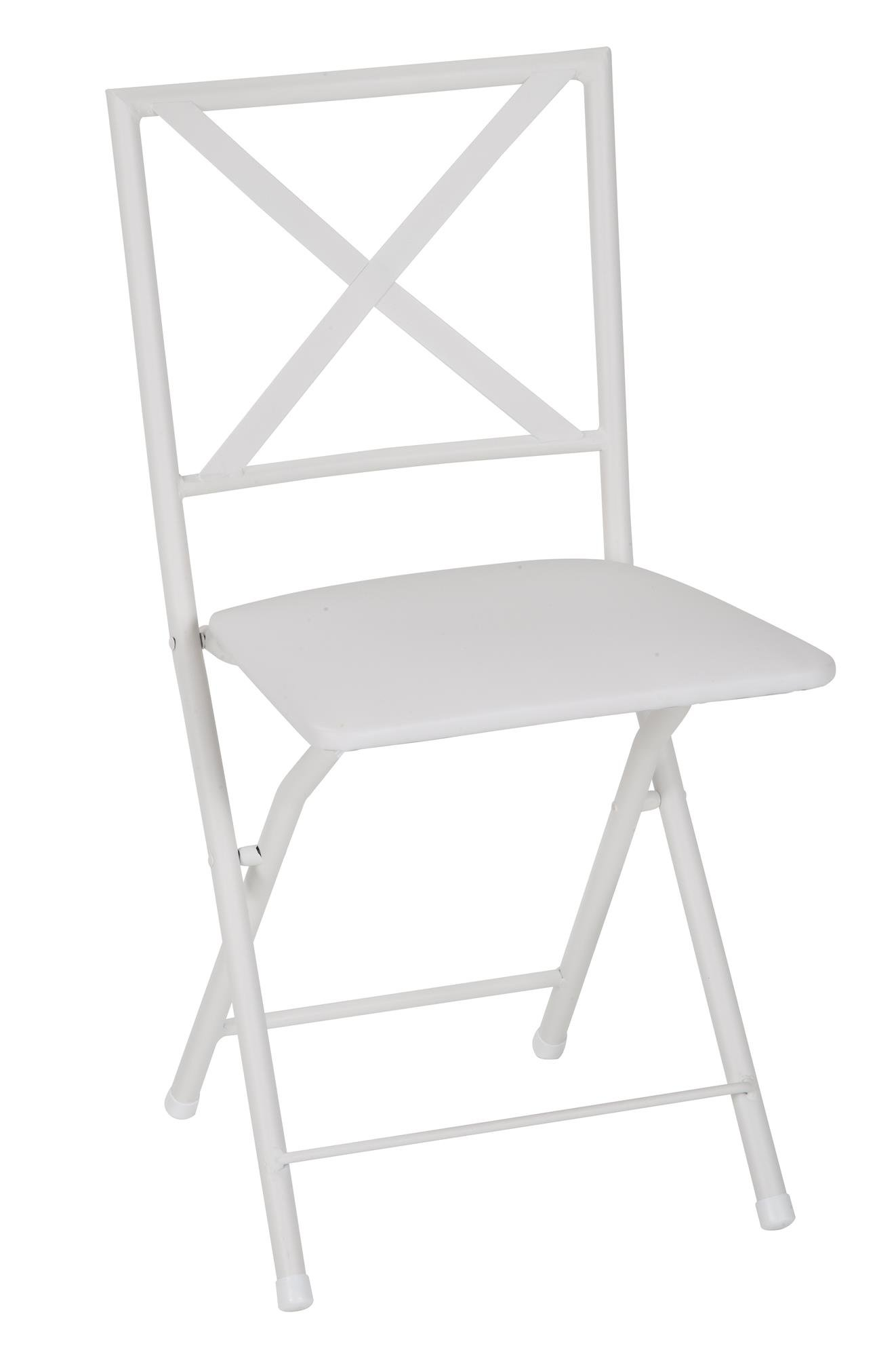 Cosco Products COSCO X-Back Metal Folding Dining Chair Vinyl Seat, White, 4 Pack