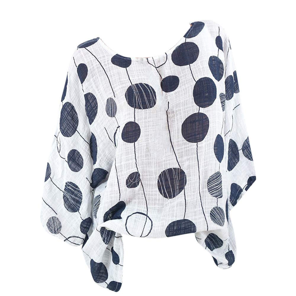 wodceeke Womens Plus Size Casual O-Neck Polka Dot Long Sleeves Blouse Pullover Tops Shirt
