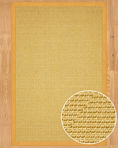 NaturalAreaRugs Heavy Boucle Sisal Area Rug, Handmade in USA, 100% Sisal, Non-Slip Latex Backing, Durable, Stain Resistant, Eco/Environment-Friendly, (8'x10') Tan Border
