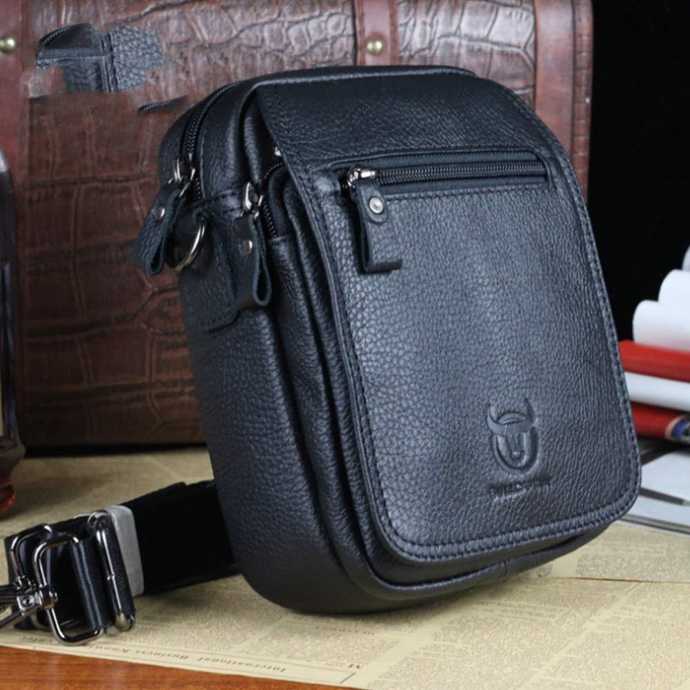Shengjuanfeng Mens Shoulder Bag Leather Shoulder Crossbody Bag Business Casual Vertical Student Mini Bag Color : Black, Size : M
