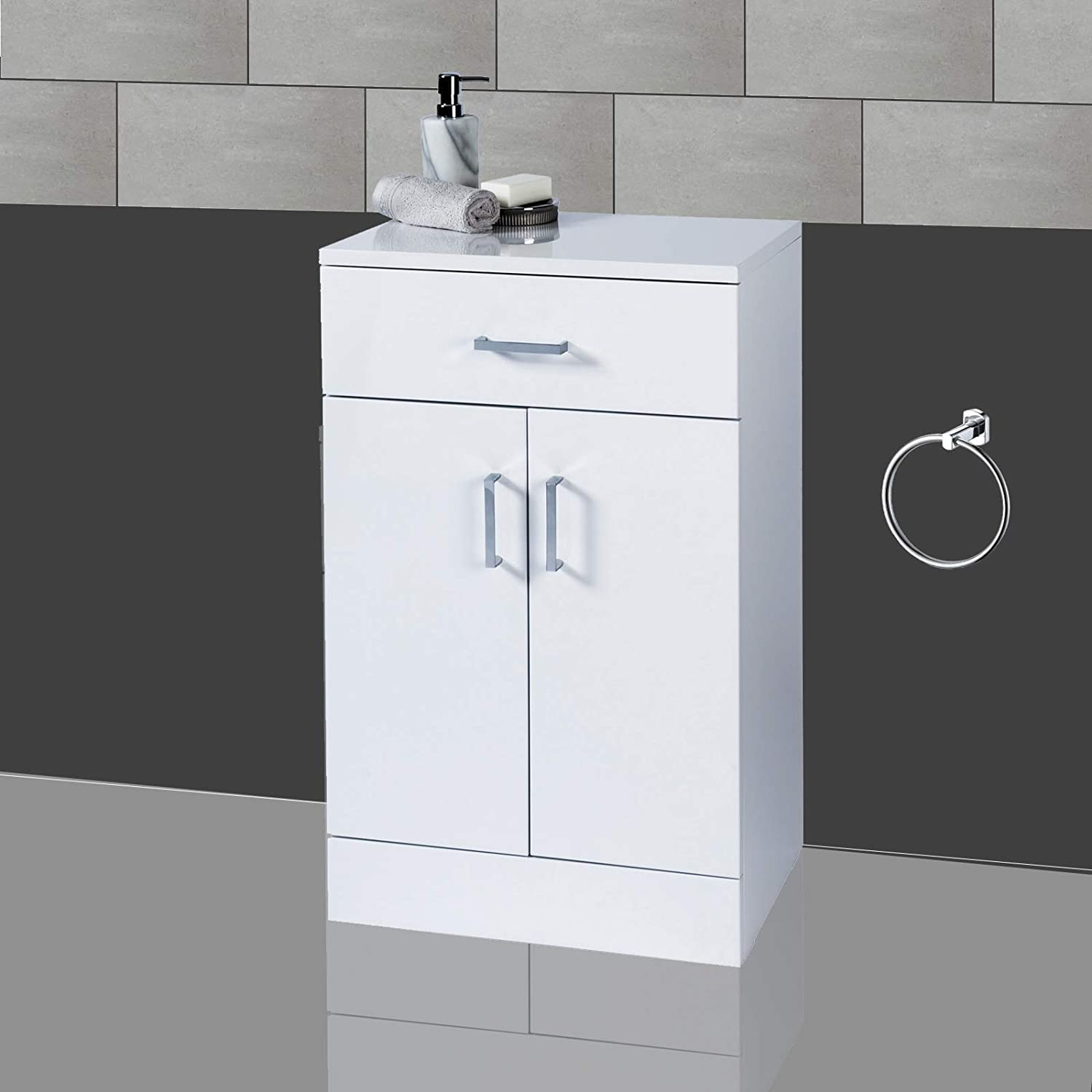 Fantastic Showerdrape Salerno Freestanding White Gloss Bathroom Cabinet Home Interior And Landscaping Ologienasavecom