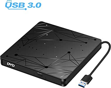 External DVD Drive for Laptop, USB 3.0 Portable Optical Slim CD/DVD Burner Player RW Drive Compatible with Desktop PC Windows XP/ 2003/ Vista/ 7/8, Linux, Mac os System
