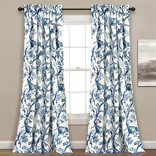 """Lush Decor Curtains Dolores Darkening Window Panel Set for Living, Dining Room, Bedroom (Pair), 95"""" x 52"""", Blue"""