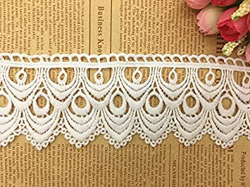 8CM Width Europe Wave Pattern Inelastic Embroidery Trims,Curtain Tablecloth Slipcover Bridal DIY Clothing//Accessories. Black 2 Yards in one Package