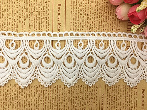 8CM Width Europe Wave Pattern Inelastic Embroidery Trims,Curtain Tablecloth Slipcover Bridal DIY Clothing/Accessories.(4 Yards in one Package) (White)